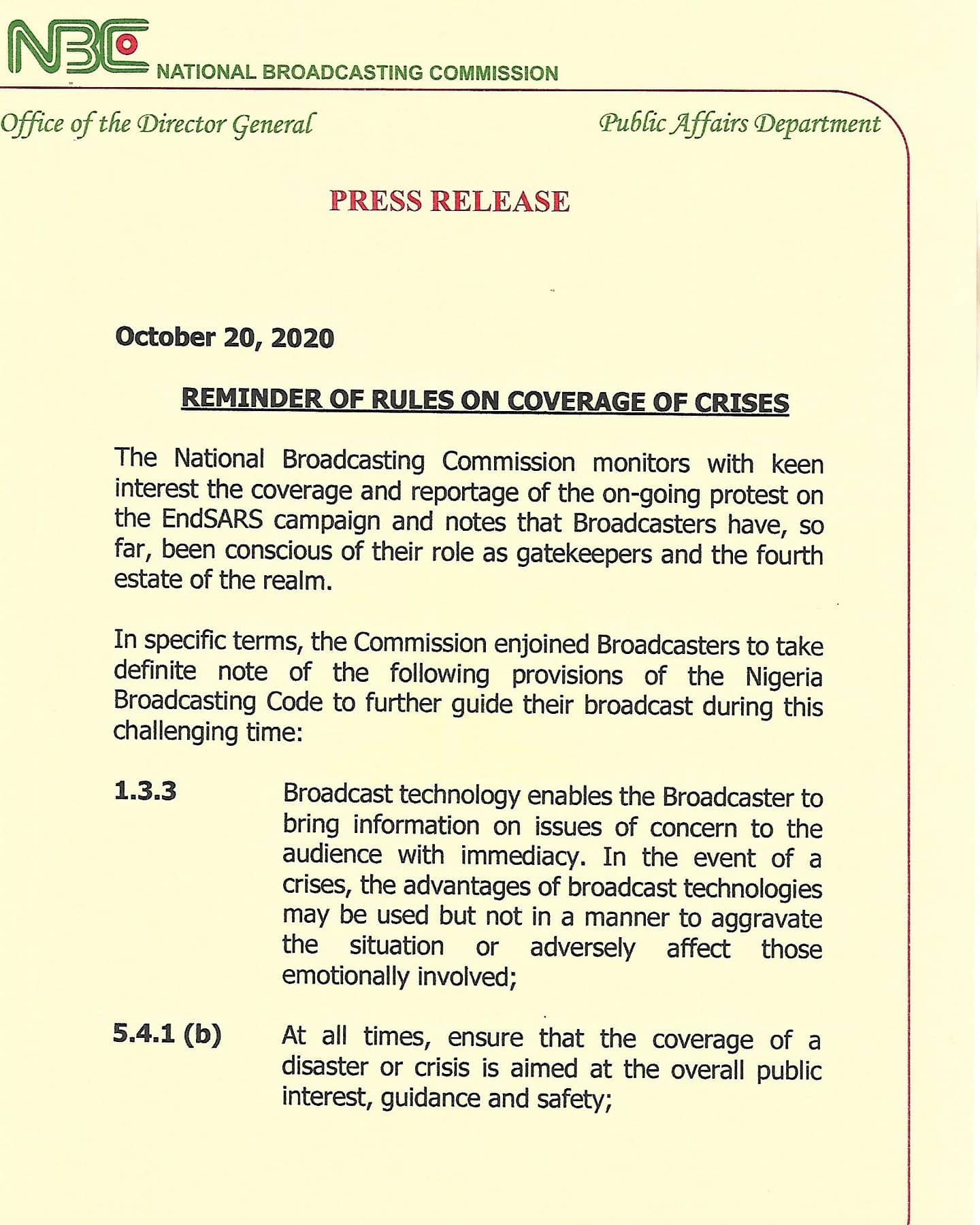Don't embarrass government with your report on #EndSARS crisis - NBC warns media houses lindaikejisblog 2