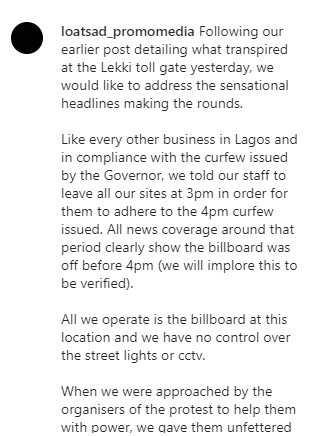 We have no control over the street lights or CCTV - Seyi Tinubu's media firm cry out after admitting turning off the billboard prior to Lekki toll gate shooting lindaikejisblog 2