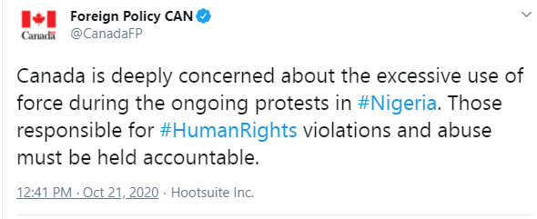 Human violations and abuse must be held accountable - Canadian government expresses concern over excessive use of force in ongoing protests in Nigeria lindaikejisblog 1