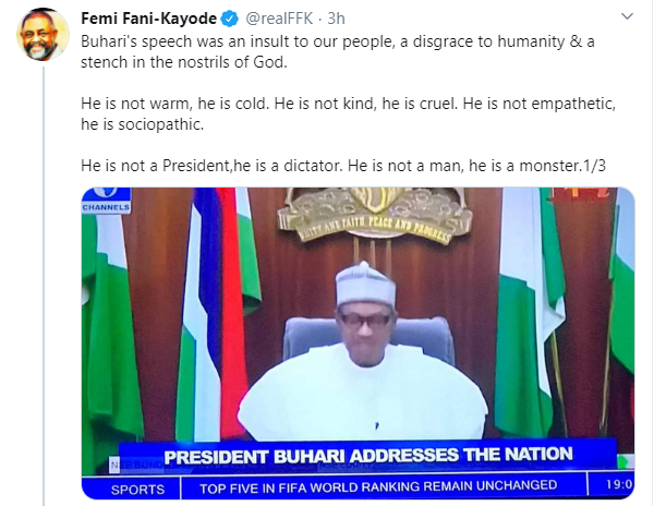 You're a dictator, a disgrace to humanity and a stench in the nostrils of God - FFK slams President Buhari over speech on #EndSARS protest lindaikejisblog 1
