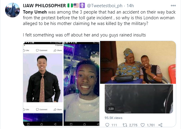 Nigerians fault womans claim on her son dying after the Lekki toll gate shooting lindaikejisblog 1