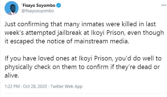 Many inmates were killed in last weeks attempted jailbreak at Ikoyi Prison - Journalist Fisayo Soyombo alleges lindaikejisblog 1