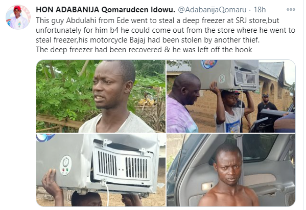 Looter's motorcycle stolen after he went to an Osun store to steal a freezer lindaikejisblog 1