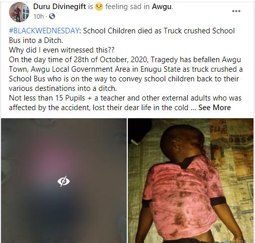 Many pupils feared dead as truck knocks school bus into a ditch in Enugu lindaikejisblog 1
