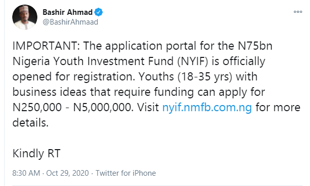 Application portal for the N75bn Nigeria Youth Investment Fund is officially opened for registration lindaikejisblog 1