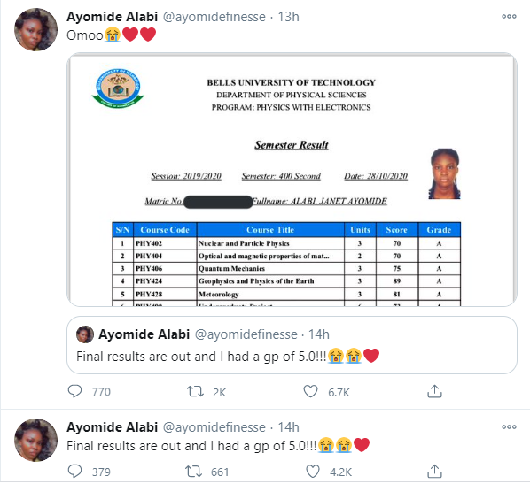 Nigerian lady celebrates having a GP of 5.0 in her final university results lindaikejisblog 1