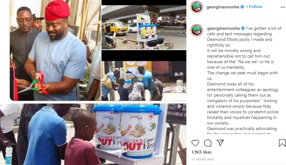 It will be morally wrong not to call him out because of the Na we we or he is one of us mentality - Georgina Onuoha continues dragging Desmond Elliot lindaikejisblog 1