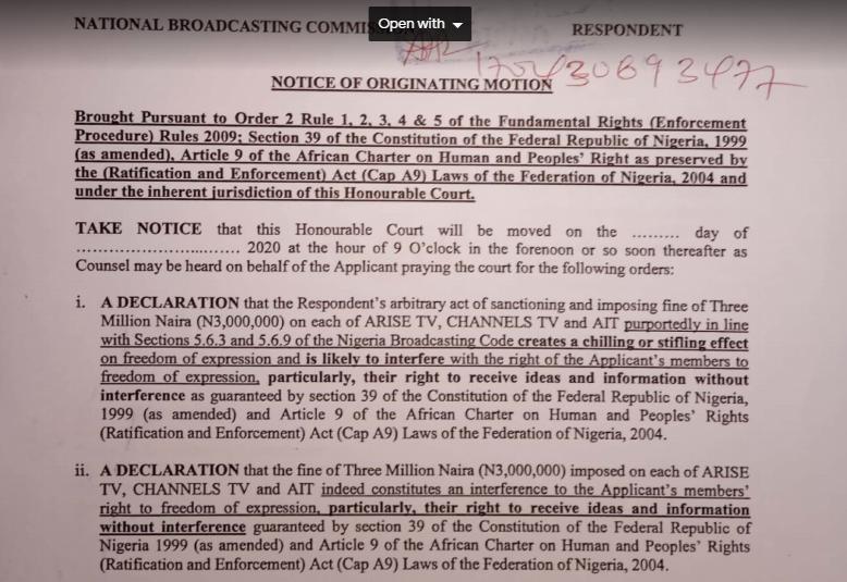 Lawyers file lawsuit against NBC over 'punitive fines' against Arise TV, Channels and AIT lindaikejisblog 1