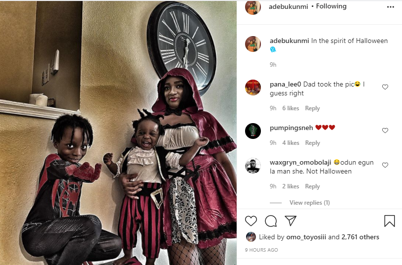 Olamide's baby mama, Adebukunmi shares photo of her Halloween costume with their kids lindaikejisblog 1