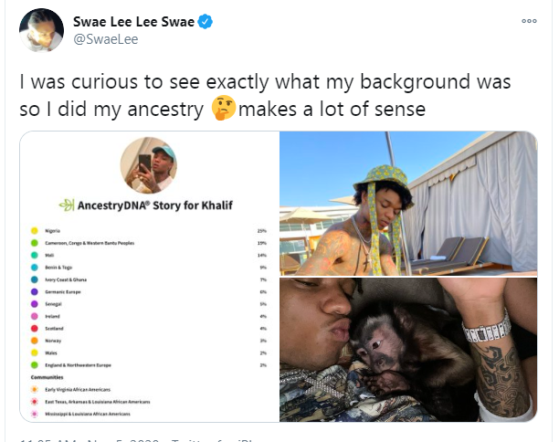 Swae Lee shares photo of his DNA results which confirms link to Nigeria lindaikejisblog 1