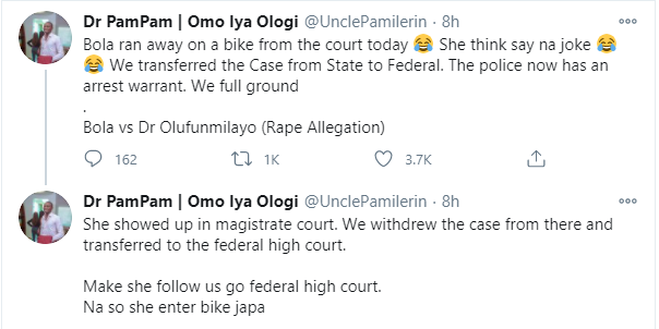 Dr Bola allegedly flees on bike after a defamation lawsuit was refiled on behalf of Dr Olufunmilayo before a federal high court lindaikejisblog 1