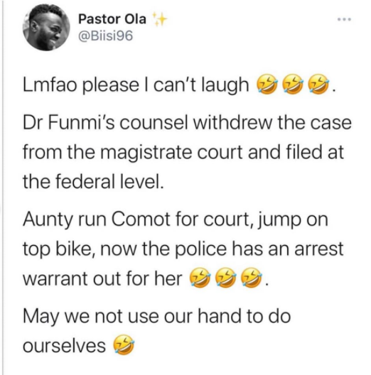 Dr Bola allegedly flees on bike after a defamation lawsuit was refiled on behalf of Dr Olufunmilayo before a federal high court lindaikejisblog