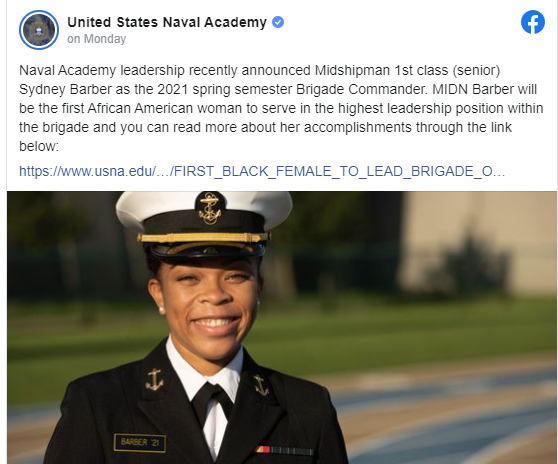 US Naval Academy names first Black female brigade commander lindaikejisblog