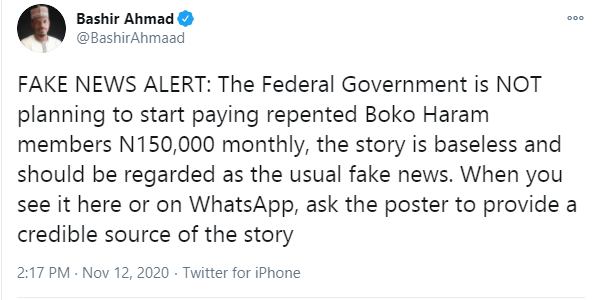 Presidential aide, Bashir Ahmad reacts to allegation of FG planning a N150k monthly payment to repentant Boko Haram members lindaikejisblog