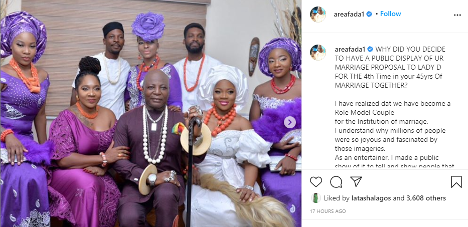 I realized we have become a role model couple for Institution of marriage - Charly Boy explains why publicly proposed to his wife for the 4th time in 45 years of marriage lindaikejisblog 1