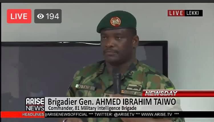 Governor Babajide Sanwo-Olu invited the Army to intervene in the #EndSARS protest - Brigadier-General AI Taiwo lindaikejisblog