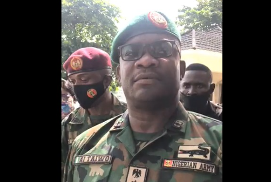 Soldiers were pelted with stones and bottles at Lekki toll gate - Brigadier-General AI Taiwo lindaikejisblog