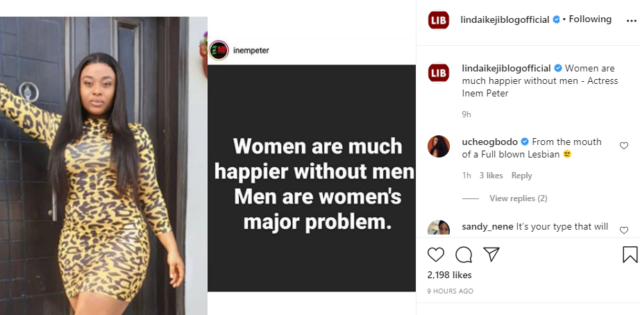 From the mouth of a full blown lesbian - Actress Uche Ogbodo slams colleague Inem Peter over comment of 'women being much happier without men' lindaikejisblog 1