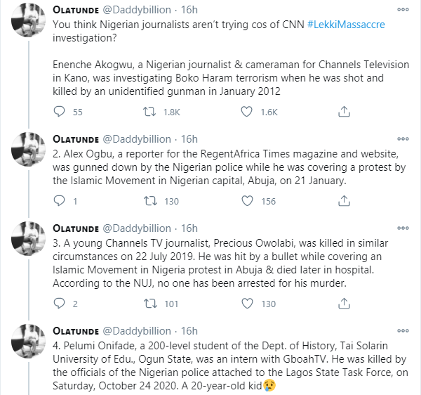 Twitter user compiles list of journalists that have been killed in Nigeria to counter comment of 'Nigerian journalists are not trying' over CNN documentary of Lekki shooting lindaikejisblog