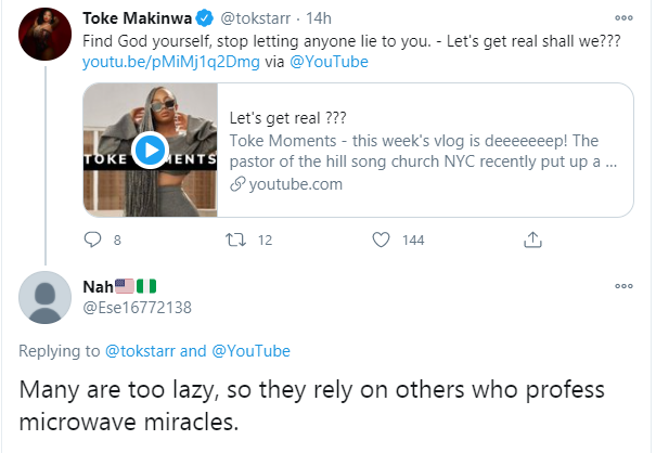 Toke Makinwa shades Apostle Suleman over his testimony of his spiritual son who prayed in Germany and walked out in France lindaikejisblog 1