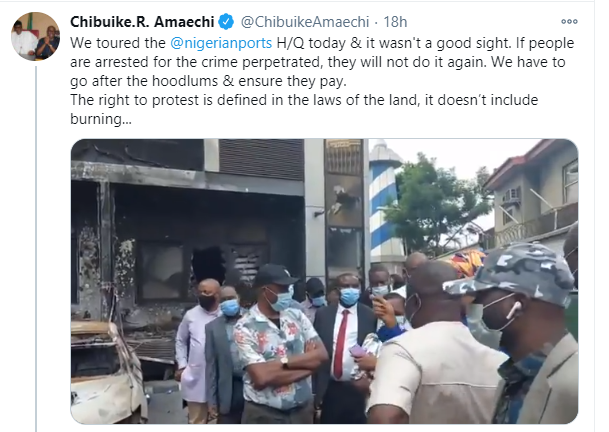 We have to go after the hoodlums and ensure they pay - Rotimi Amaechi says after visiting burnt NPA headquarters lindaikejisblog 1