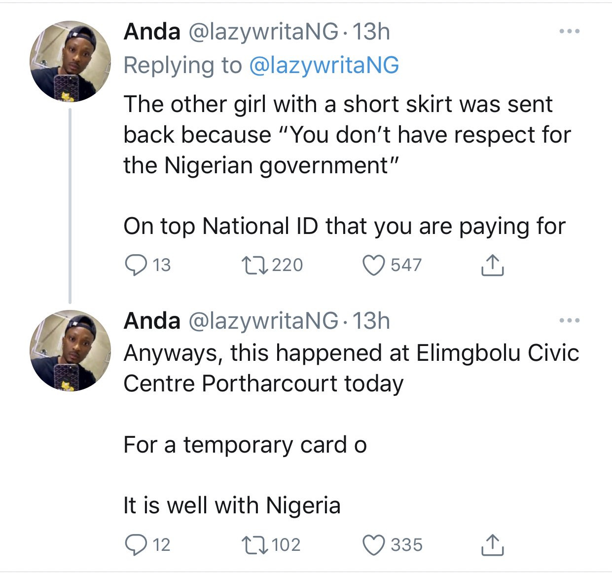 Lady given thread and needle to sew her ripped jeans before she could get a National ID in Port Harcourt lindaikejisblog 2