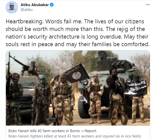 Rejig of the nation's security architecture is long overdue - Atiku Abubakar reacts to killing of 43 farmers in Borno state by Boko Haram insurgents lindaikejisblog 1