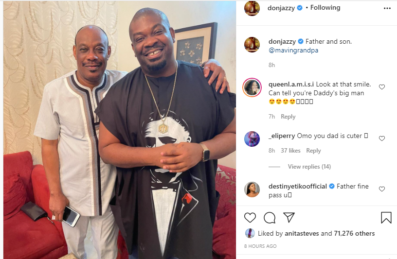 Don Jazzy shares a photo with his father lindaikejisblog 1