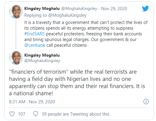 This government cant protect the lives of its citizens but spends all its energy attempting to suppress #EndSARS peaceful protesters - Moghalu lindaikejisblog 1