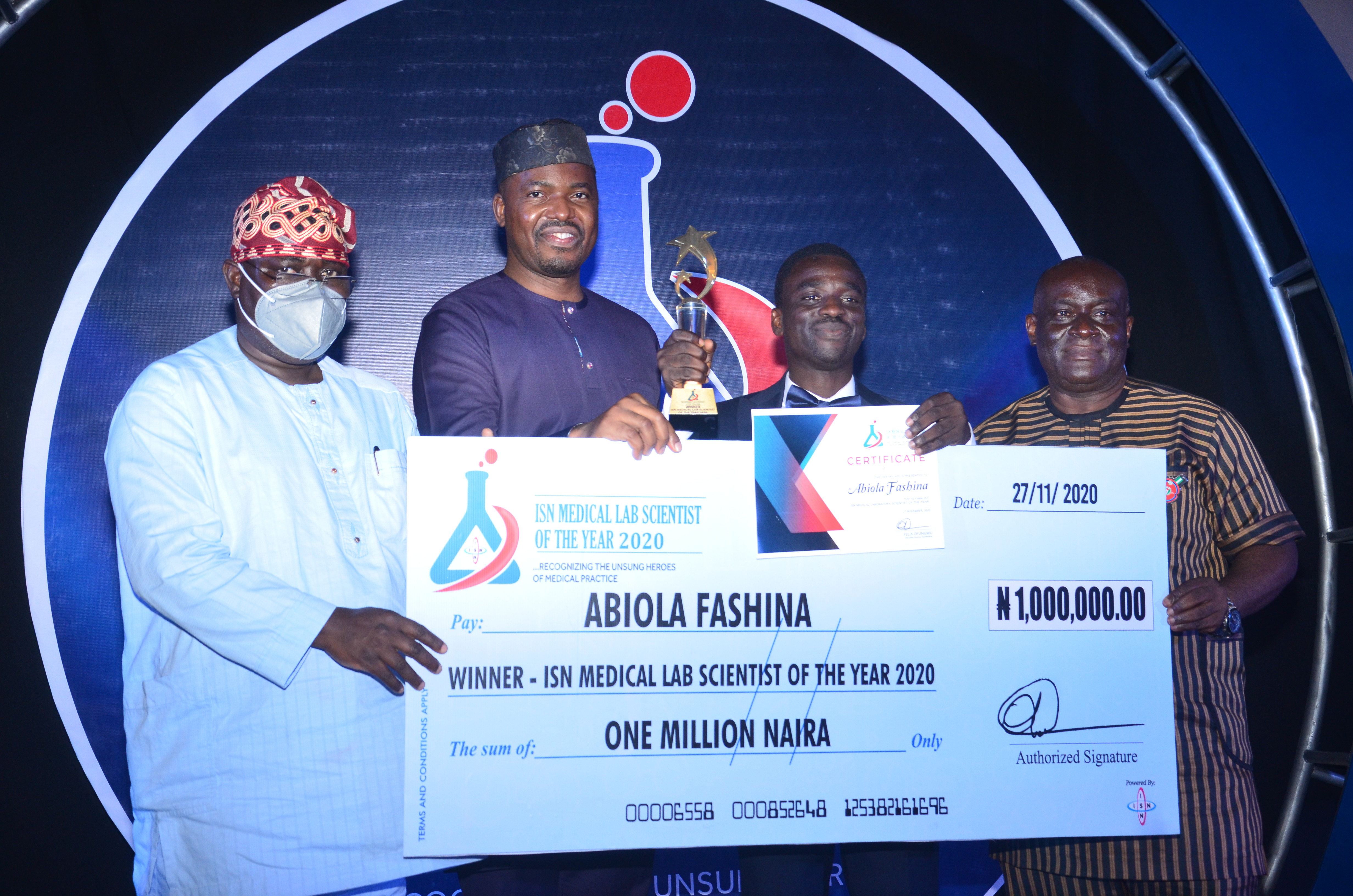 Abiola Fashina Emerges Winner of ISN Medical Laboratory Scientist of the Year Award 2020 lindaikejisblog1