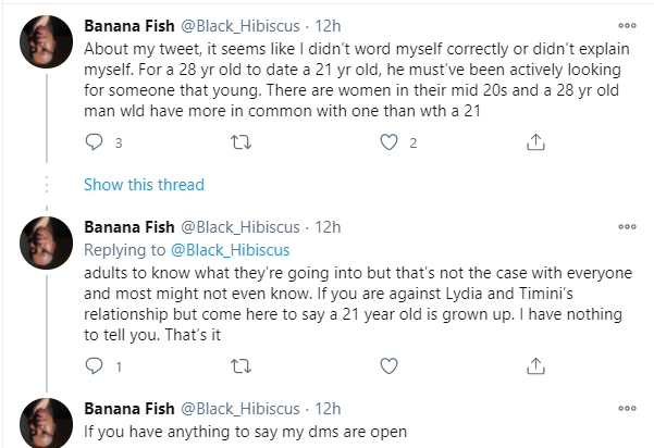 A 28-year-old and a 21-year-old is predatory - Twitter user lindaikejisblog 3