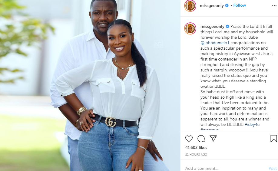 You are a winner and will always be- John Dumelos wife writes comforting message to him after he lost out on being elected as a Ghanaian parliament member lindaikejisblog 1