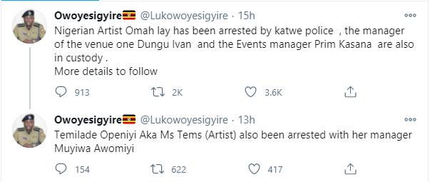 Singer Omah Lay confirms being arrested by Ugandan Police lindaikejisblog 1