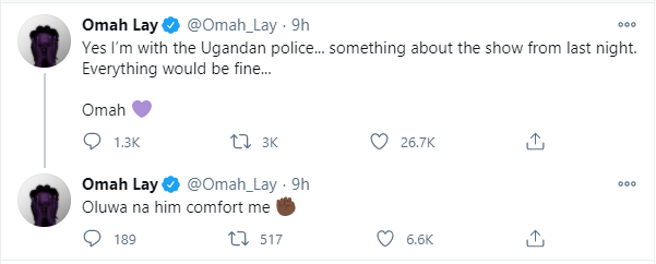 Singer Omah Lay confirms being arrested by Ugandan Police lindaikejisblog 2