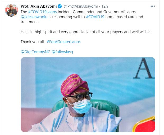 Sanwo-Olu is responding to treatment - Commissioner for Health, Akin Abayomi lindaikejisblog 1