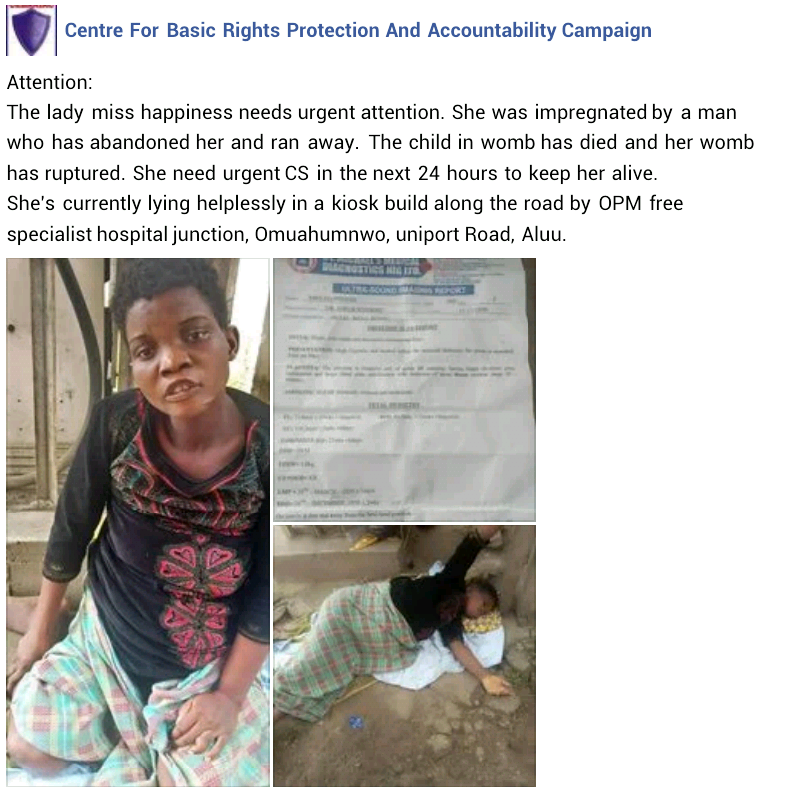 Young woman reportedly impregnated and abandoned in Rivers