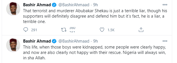 Some people were clearly happy with the kidnap of Kankara schoolboys and now are also clearly not happy with their rescue - Presidential aide, Bashir Ahmad lindaikejisblog 1