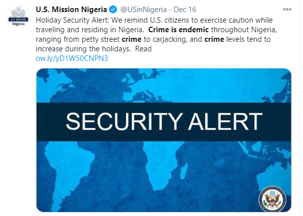 Exercise caution while traveling and residing in Nigeria, crime is endemic throughout the country - US warns its citizens lindaikejisblog 1