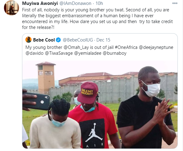 You are literally the biggest embarrassment of a human being I have ever encountered in my life - Tems manager, Muyiwa Awoniyi calls out Ugandan singer Bebe Cool lindaikejisblog 1