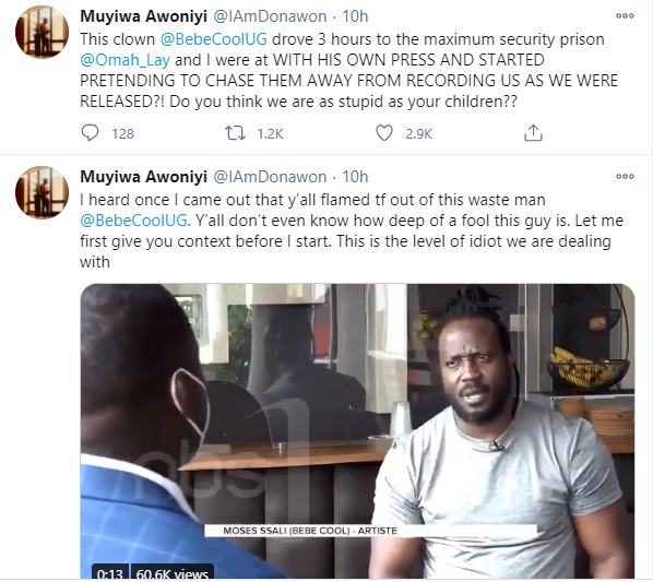 You are literally the biggest embarrassment of a human being I have ever encountered in my life - Tems manager, Muyiwa Awoniyi calls out Ugandan singer Bebe Cool lindaikejisblog 2