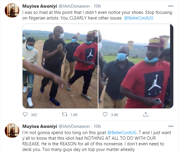 You are literally the biggest embarrassment of a human being I have ever encountered in my life - Tems manager, Muyiwa Awoniyi calls out Ugandan singer Bebe Cool lindaikejisblog 3