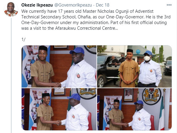 Abia's 17-year-old one-day Governor sets inmates free lindaikejisblog 1