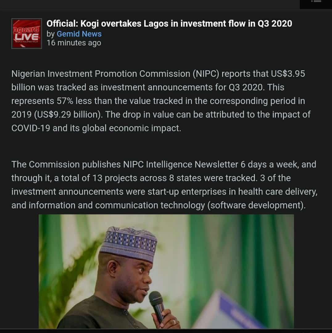 Foreign Investments; Kogi Overtook Lagos Because Yahaya Bello Refused to Lockdown lindaikejisblog1