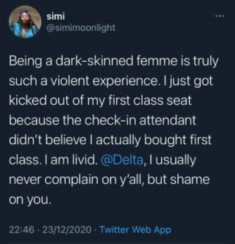 Black woman calls out Delta airline after being kicked her out her first class seat because the check-in attendant didn't believe she bought first class lindaikejisblog 1
