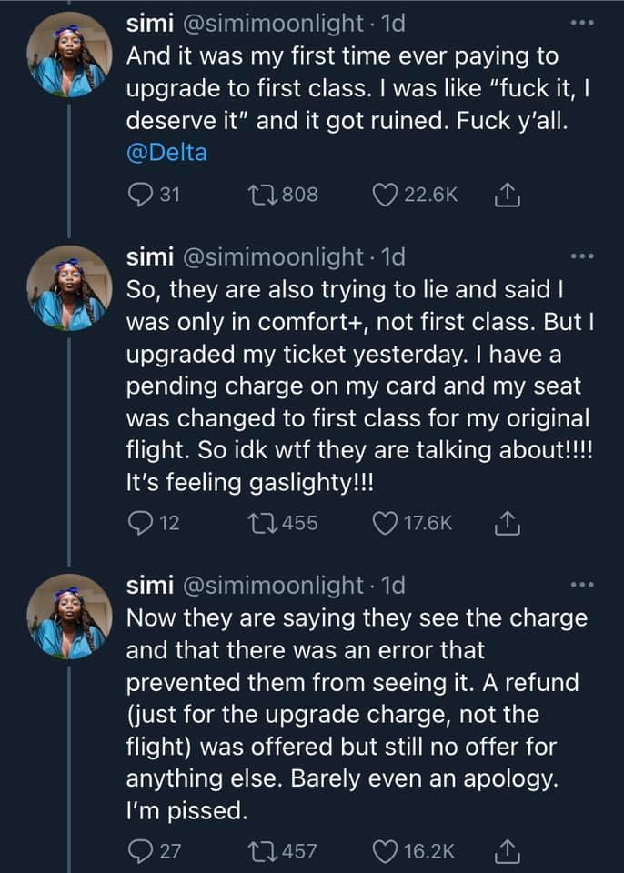 Black woman calls out Delta airline after being kicked her out her first class seat because the check-in attendant didn't believe she bought first class lindaikejisblog 3