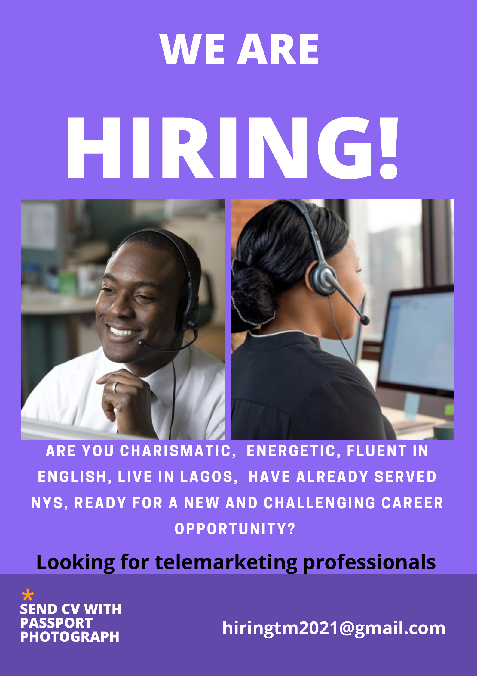 A Telemarketing company is hiring
