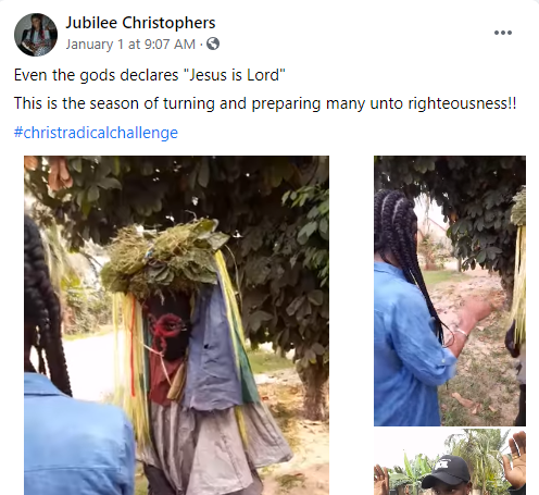 Nigerian lady coverts masquerader to Christianity, makes his remove his masquerade costume lindaikejisblog 1
