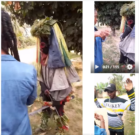 Nigerian lady coverts masquerader to Christianity, makes his remove his masquerade costume lindaikejisblog