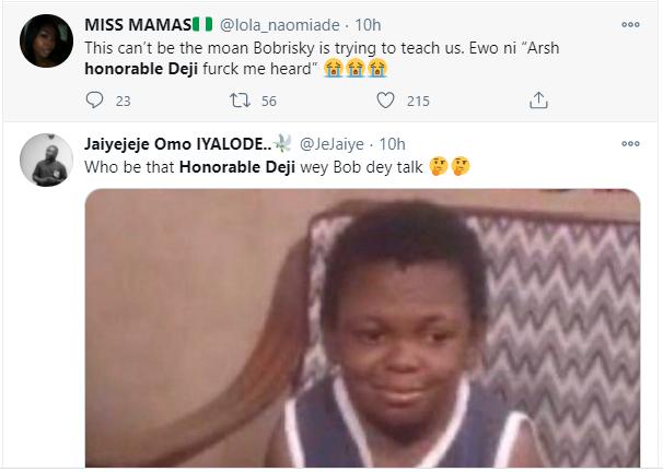 Honorable Deji trends as Bobrisky teaches women how to moan lindaikejisblog 1