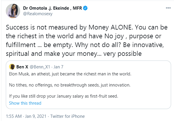 Success is not measured by money alone - Omotola Jalade reacts as Twitter user points out the Elon Musk became the richest man in the world by being an atheist lindaikejisblog  1